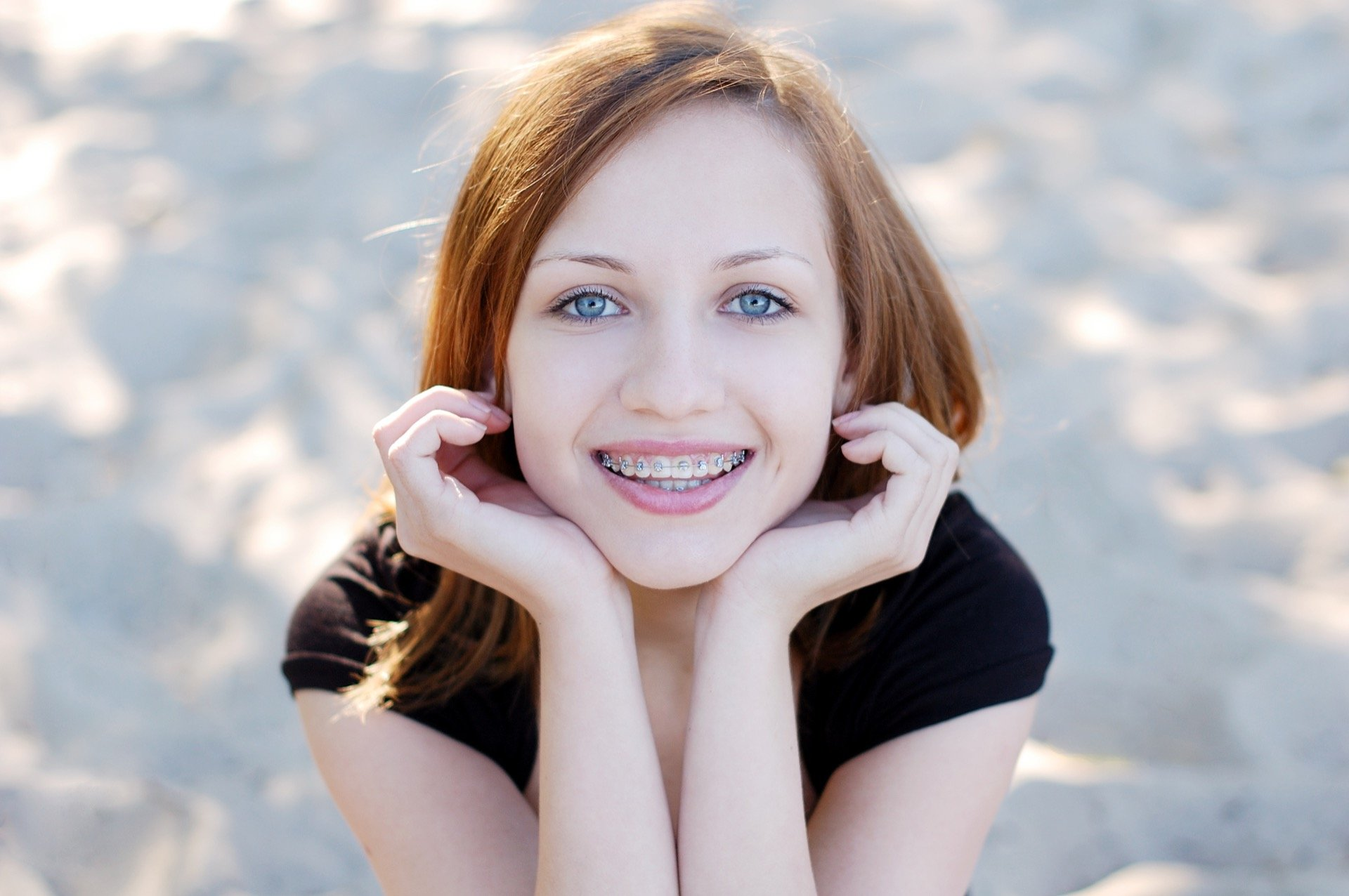 Young woman wearing braces